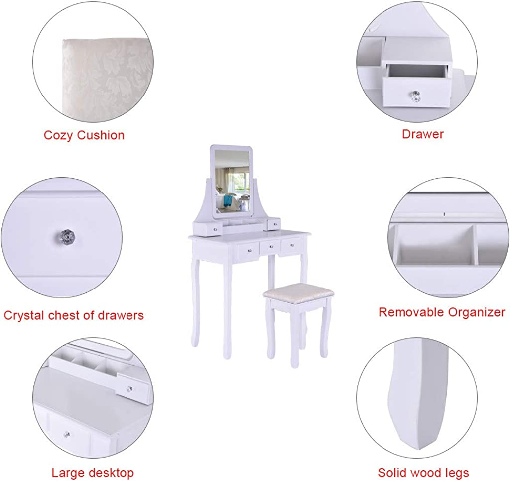 5 Drawers 2 Dividers Movable Organizers Vanity Set with Mirror /& Cushioned Stool Dressing Table Vanity Makeup Table
