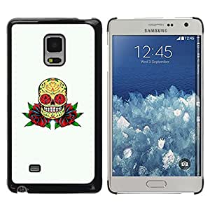 MOBMART Carcasa Funda Case Cover Armor Shell PARA Samsung Galaxy Mega 5.8 - The Flowered Skull