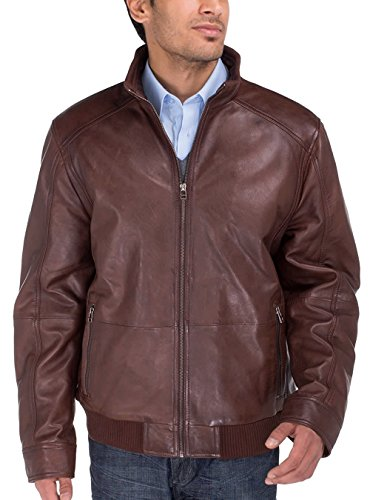 (Luciano Natazzi Men's Trim Fit Lambskin Leather Vintage Washed Moto Jacket (XX-Large,Brown))