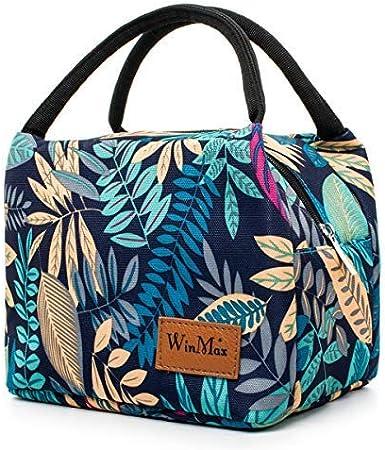 Bolsa de almuerzo aislada Winmax para adultos, niños, mujeres, hombres, almuerzos, bolsas de picnic, lonchera, lonchera, bolsa de almuerzo para acampar o viajar Leaves Pattern: Amazon.es: Hogar