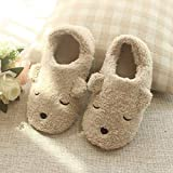 DEED Slippers - Autumn and Winter Warm Slippers Cartoon Bear Bag with Home Cotton Slippers Indoor Soft Bottom Female Cotton Slippers,Buff,36-37