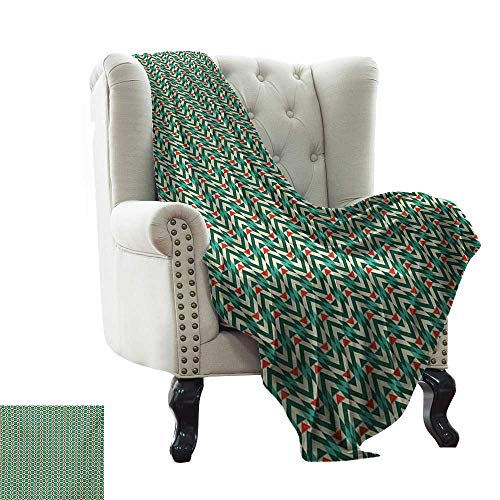 Baby Blanket Geometric,Herringbone Pattern with Angled Stripes and Rhombuses Triangles,Vermilion Fern Green Beige Comfortable Soft Material |give You Great Sleep 60