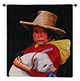 NOVICA ''Little Girl With A Piglet'' Wool Tapestry