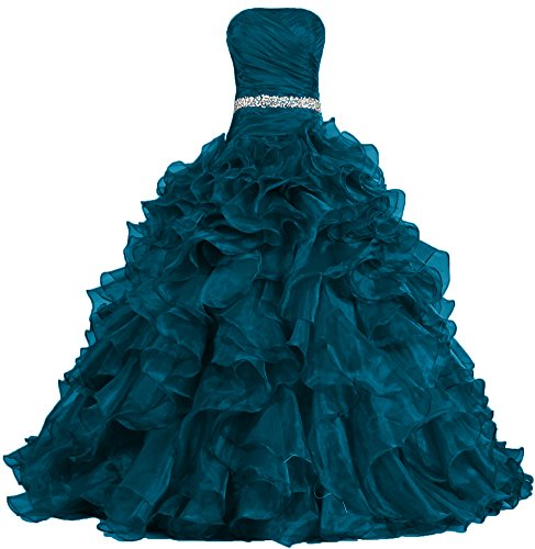 (ANTS Women's Pretty Ball Gown Quinceanera Dress Ruffle Prom Dresses Size 16 US Teal)