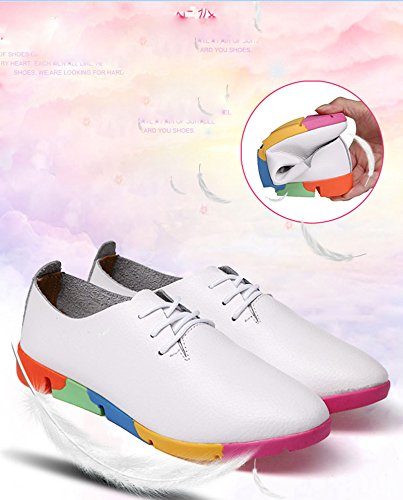 Gaorui Women Girl Students Scarpe A Punta Lace Up Scarpe Casual Oxford Pumps Sneakers Basse Bianche