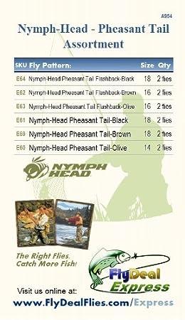 FlyDeal Fishing Flies Nymph-Head Pheasant Tail Flashback Black Nymph 2-Pack
