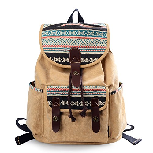 [Lt Tribe Girls Casual Canvas Backpack Floral College Backpack Laptop Daypack Brown G00137] (College Girls In Costumes)