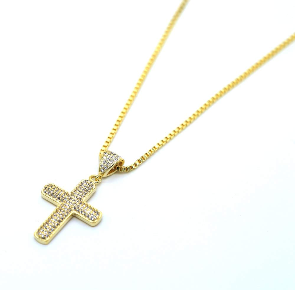 Metal Color: Gold-Color Davitu Hip Hop micor Pave AAA+Cz Charm Necklace Iced Out Chain Size 24 Mens Jewelry Bling Bling cz Pendant Cross Box Chain Gold 60cm