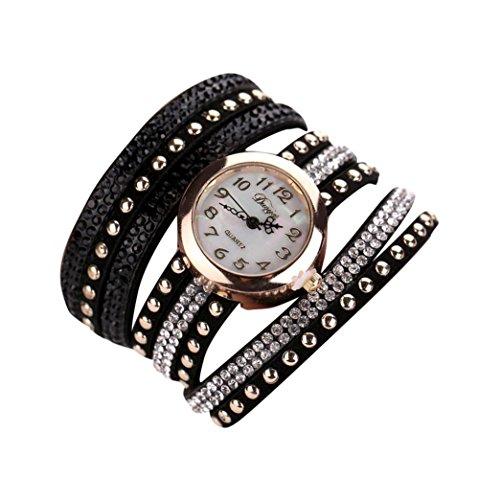 Fortan Frauen New Bling Leder beiläufige Uhr Armband-Schwarz