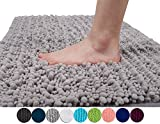 Yimobra Original Luxury Shaggy Bath Mat Large Size 31.5 X 19.8 Inch Super Absorbent Water,Non-Slip,Machine-Washable,Soft and Cozy,Thick Modern for Bathroom,Bedroom,Floor,Gray