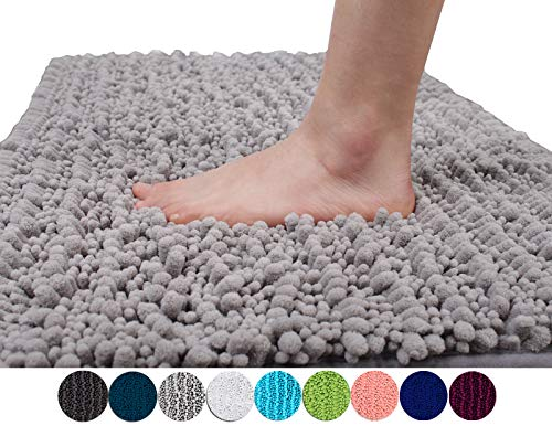 (Yimobra Original Luxury Shaggy Bath Mat Large Size 31.5 X 19.8 Inches Super Absorbent Water, Non-Slip, Machine-Washable, Soft and Cozy, Thick Modern for Bathroom, Bedroom, Floor, Gray)