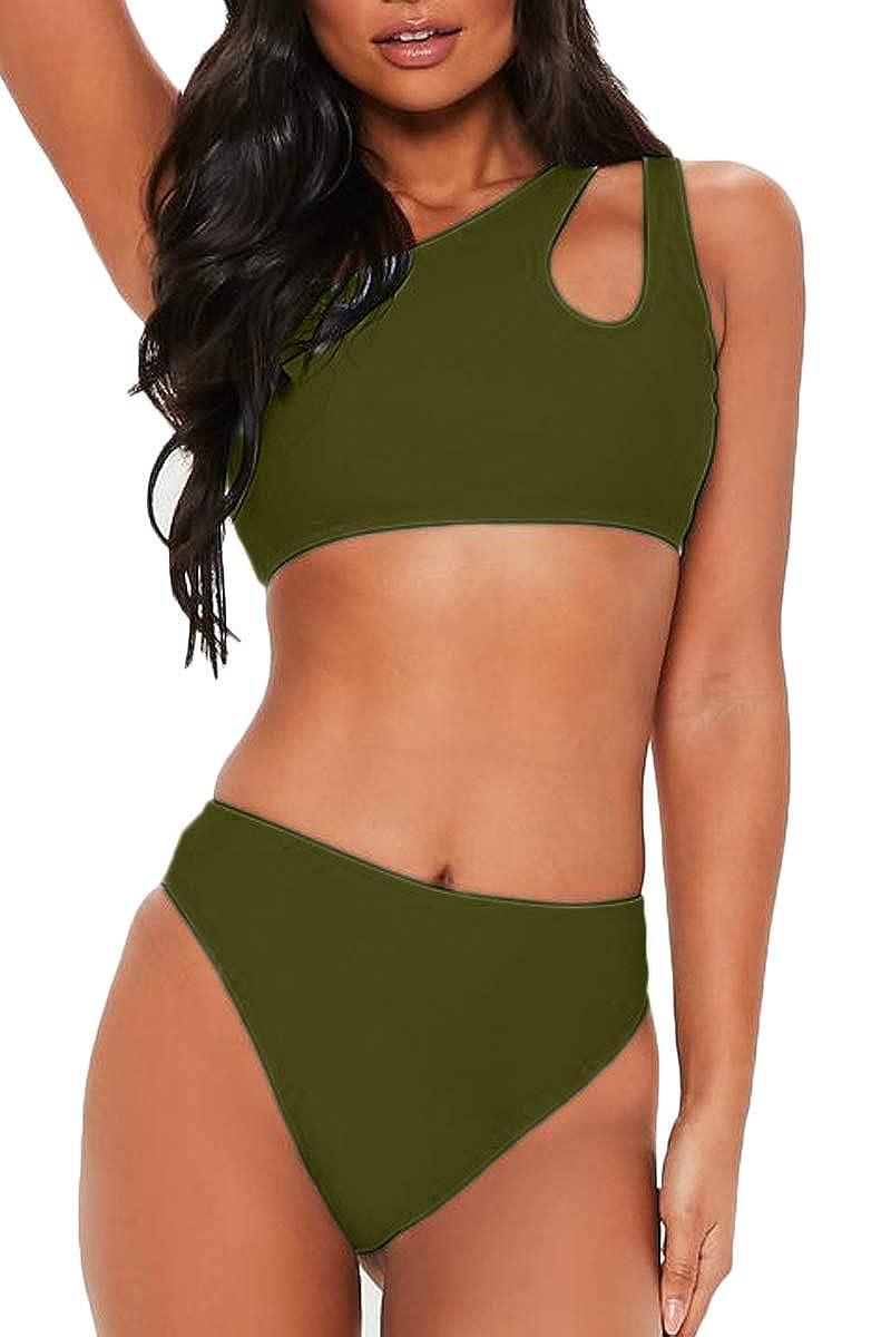 FAFOFA Womens Bikini Set Cutout One Shoulder High Waist Two Piece Swimsuit