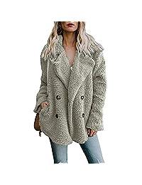 Women's Teddy Bear Lapel Short Coat Ladies Coat Faux Fur Warm Winter Outwear Jackets