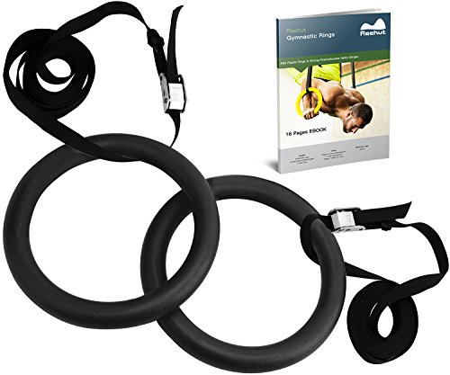 Reehut Gymnastic Rings W/ Adjustable Straps, Metal Buckles & Manual - Home Gym (Set of 2) - Non-Slip - Great For Workout, Strength Training, Fitness, Pull Ups and Dips Black