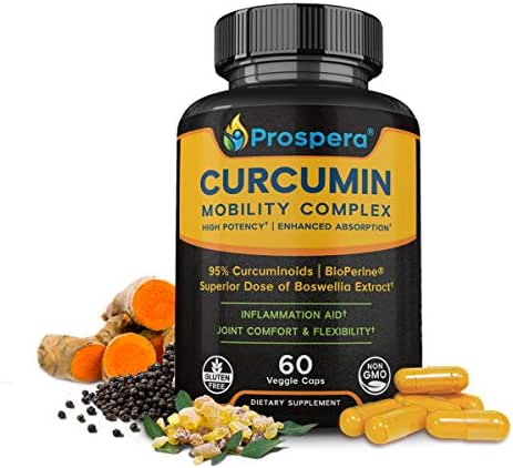 Superior Curcumin for Joint Support - High Potency Turmeric Curcumin, Boswellia, Bioperine - Plantar Fasciitis, Knee and Back Pain Aid - Exercise and Workout Mobility, Ideal for Crossfit - 60 Servings