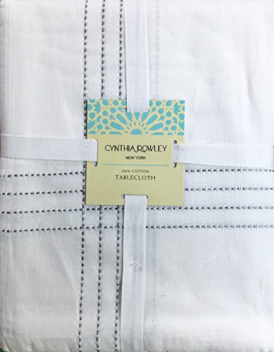 (Cynthia Rowley New York Cotton Fabric Tablecloth Threaded Lurex Silver Stripes on White 60 Inches by 60 Inches Square)