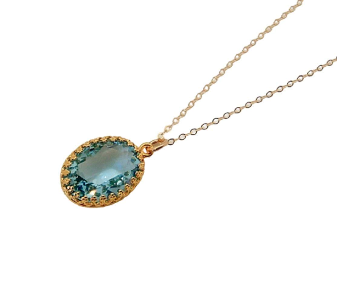 November Birthstone Topaz Necklace Bridal Necklace, Gold Filled Faceted Glass Pendant Bridesmaid Gifts Necklaces For Women
