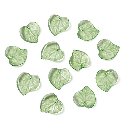 Glass Beads Leaf Pendant Necklace - Craftdady 100Pcs Transparent Green Acrylic Leaf Pendants 15x15mm Plastic Leaf Bead Charms with 1.5mm Hole for DIY Jewelry Craft Making