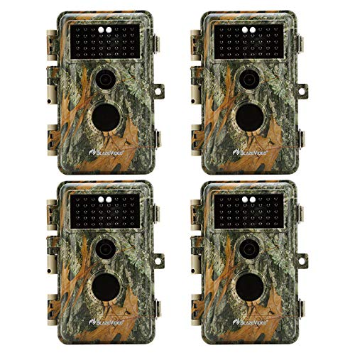 (BlazeVideo 4-Pack No Glow Infrared Trail Hunting Game Cameras 16MP 1920x1080P Video Tracking & Monitoring 65Ft Night Vision Wildlife Deer Cameras Motion Activated Password & IP66 Waterproof Protection)