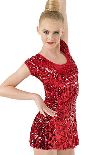 Balera Dance Dress Ultra Sparkle Cap Sleeve With Keyhole Back and Built-In Leotard Red Child Medium