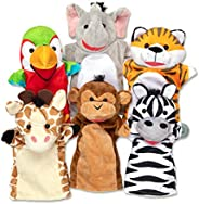 Melissa & Doug Safari Buddies Hand Puppets, Set of 6 (Elephant, Tiger, Parrot, Giraffe, Monkey, Ze