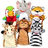 Melissa & Doug Safari Buddies Hand Puppets, Set of 6 (Elephant, Tiger, Parrot, Giraffe, Monkey, Zebra)