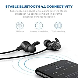 TaoTronics Bluetooth Headphones Wireless In Ear Earbuds Magnetic Stereo Earphones with Built-in Mic (Cordless 4.1 for Ultralight Business, aptX Bass & Noise Isolation Technology, Ceramic Antenna)