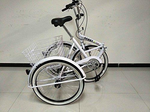 Triciclo plegable para adultos, ruedas de 24