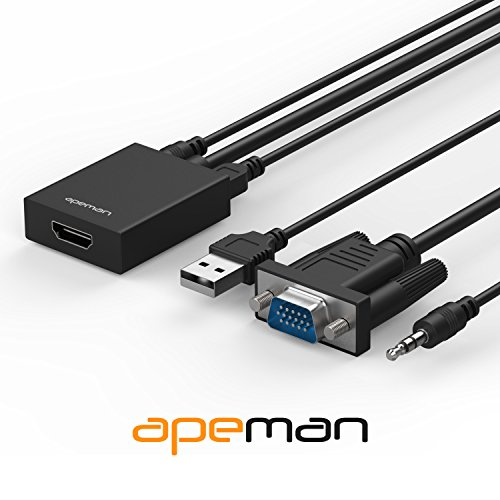 (APEMAN VGA to HDMI Converter Adapter with Audio Support 1080P HDTV and USB Cable for Power Supply Supported for TV, Computer, Projector, Laptop, DVD, AV)