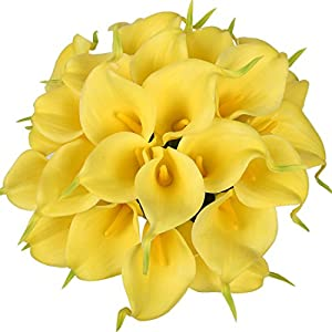 Luyue Calla Lily Bridal Wedding Bouquet Head Lataex Real Touch Flower Bouquets Pack of 20 (Yellow) 58