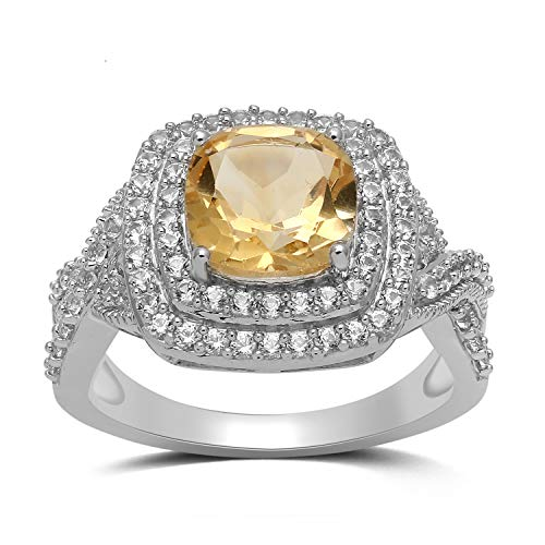 Jewelili Sterling Silver 8mm Cushion Cut Citrine and Round Created White Sapphire Halo Ring, Size 6 (Citrine Ring Sapphire)