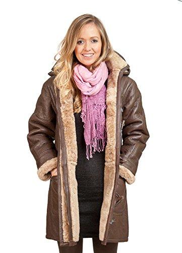 Women's Brown Long Winter Hooded Real Shearling Sheepskin Leather Duffle Coat M