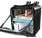 PK-76F: Doubledeck Insulated Pizza/Food Delivery Backpack Bag, 16'x 15'x 18', With a Cup Holder. A Waterproof, Collapsible Food Take-Out Box For Catering, Restaurant, Delivery Drivers, 76Liters(Black)