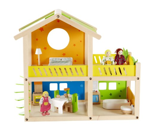 Hape Happy Villa Kid's Wooden Doll House Set with Accessories