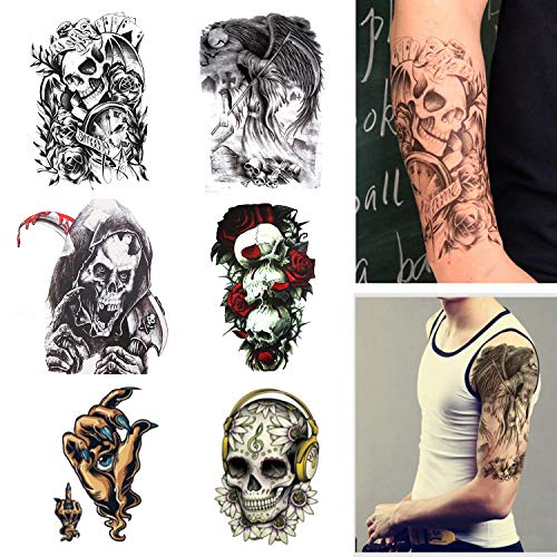 - Temporary Tattoos Skull and Rose Big Fake Body Arm Chest Shoulder Tattoos for Men Women Boy Girls