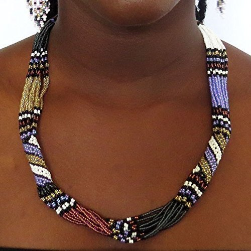 African Beaded Necklace (African Zulu beaded short necklace – Purple/white/gunmetal - Gift for her)