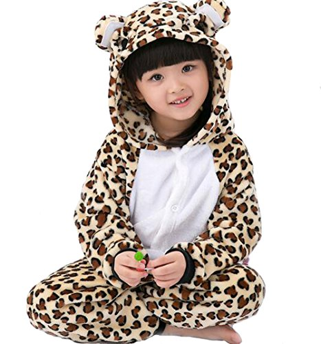 Unisex Child Sleepsuit Costume Cosplay Homewear Lounge Wear Kigurumi Onesie Pajamas (M, Children leopard (Couples Cosplay Costumes)