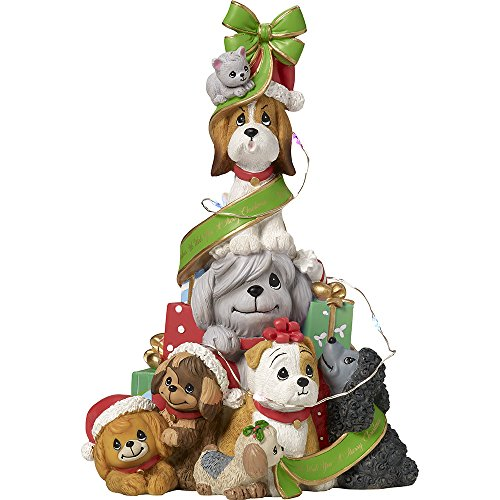 Precious Moments A Canine Christmas Dog LED Lighted Tabletop Christmas Tree Resin Music Box 171407 Musical Tabletop Christmas Tree