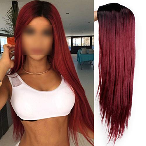 Ombre Green Straight Long Synthetic Wigs For Women Black Pink Wigs 24 inch 9 Color can be Cosplay Wigs,Red,24inches,