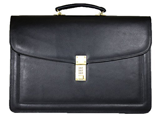 (Jack Georges Belting Triple Gusset Leather Briefcase w/Combination Lock in Black )