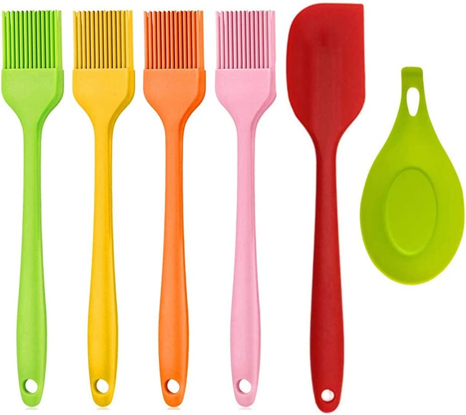 FYSW Kitchen BBQ Basting Brush, 6pcs Cooking Sets, Spatula, Barbecue Utensils, Silicone Basting Pastry Cooking Brush for Baking, Sauce Brush, Food Grade Silicone, Heat Resistance up to 446℉