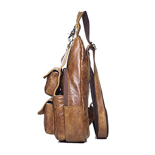 Pack Men Messenger Body Cross and Crossbody Ybriefbag Satchel Chest Backpack for Shoulder Men Bag for Bag Sports Outdoor Brown Leather Pack Vintage Sling Women Women XqpA60qw
