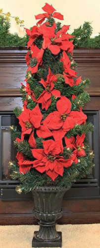 Potted Poinsettia (LB International 30890660 Pre-Lit Red Artificial Poinsettia Potted Christmas Tree with Clear Lights, 46