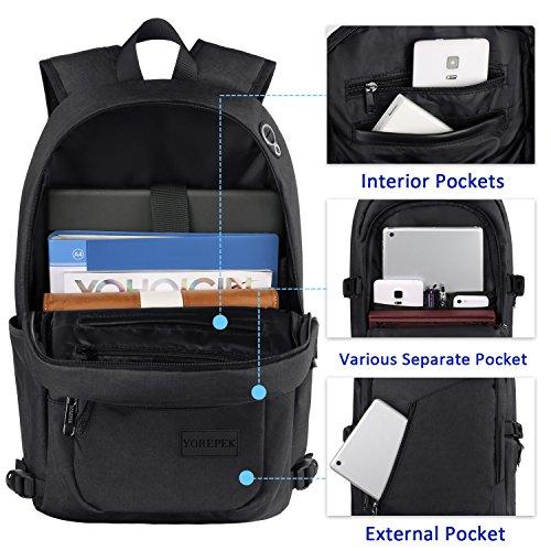Yorepek Slim Laptop Backpack, Business Computer Backpack w USB Charging Port for Men Women,Anti Theft Travel daypack College Student Backpack,Water Resistant School Bookbag Fit 15.6 inch Laptop-Black