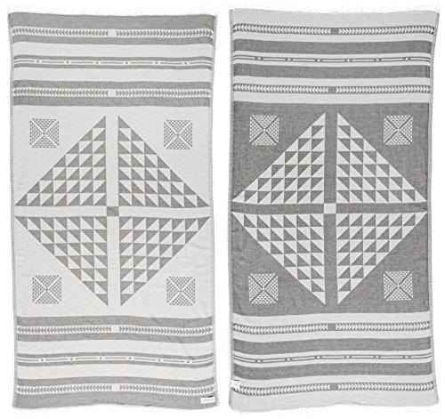 Bersuse 100% Cotton Aruba Dual-Layer Handloom Turkish Towel - 37X70 Inches, Silver Gray