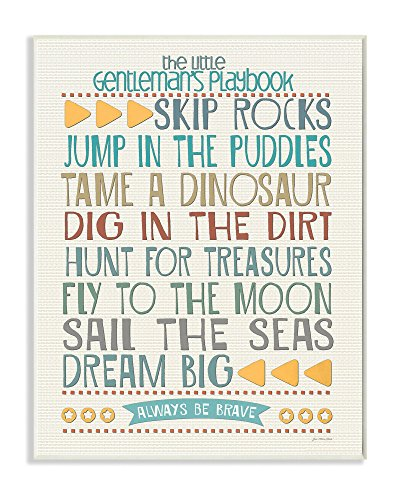 The Kids Room by Stupell Typography Art Wall Plaque, The Little Gentleman's Playbook, 11 x 0.5 x 15, Proudly Made in (Boys Room Wall Decor)