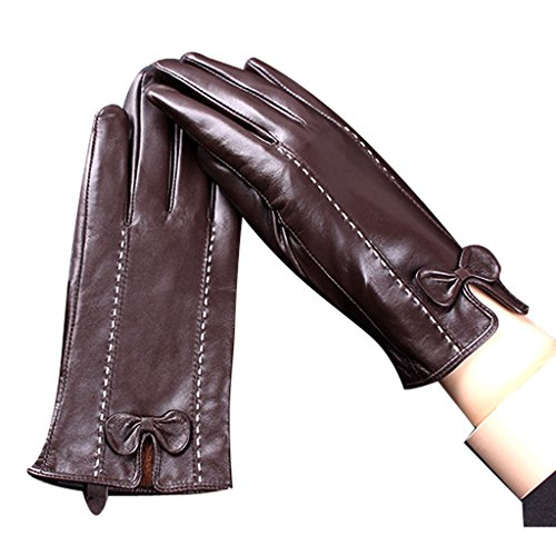 Edith qi Womens Touchscreen Texting Driving Warm Lining Nappa Leather Gloves with Bow