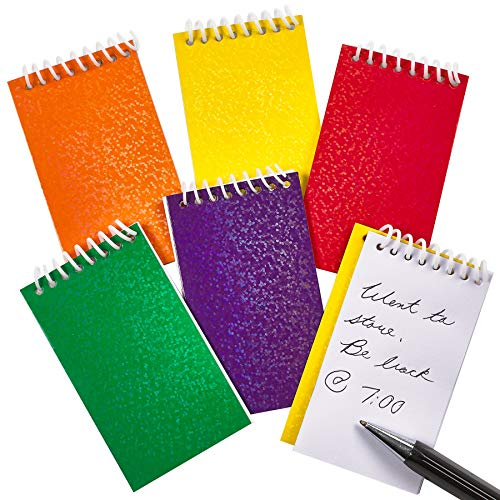 Mini Prism Spiral Notepads (Bulk Of 24) Assorted Cute Memo Pad Notebooks, Kids Pocket Size, For Party Favors, Goodie Bag Stuffers, Gift or Prize by Bedwina