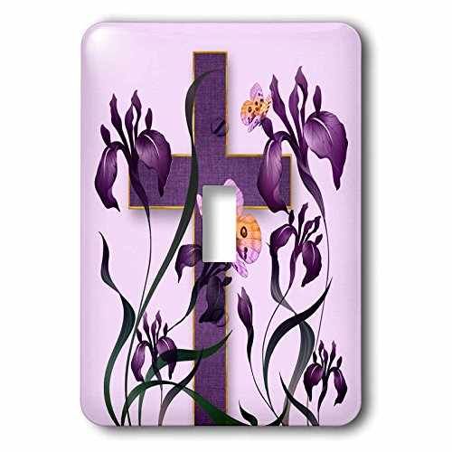 3dRose Doreen Erhardt Inspirational - Purple Iris Flowers with a Christian Cross and Butterflies - Light Switch Covers - single toggle switch (lsp_266786_1) by 3dRose
