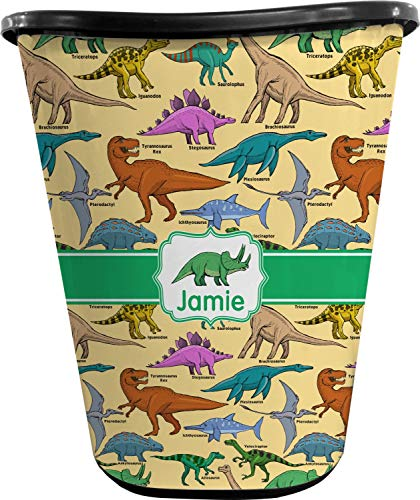 RNK Shops Dinosaurs Waste Basket - Single Sided (Black) (Personalized)